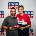 Melicia Labuschagne at Liqui Moly event handing over award