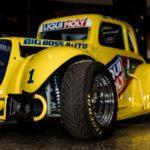 Yellow classic car with Liqui Moly sponsorship logo