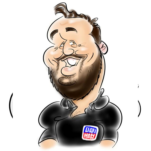 Liqui Moly team caricature of Dawie
