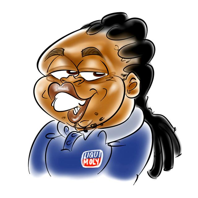 Liqui Moly team caricature of Lennox